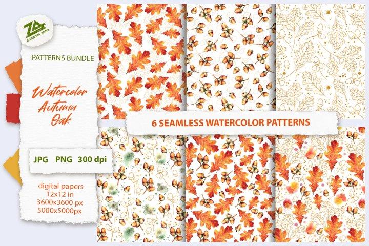 6 Seamless Watercolor Patterns Autumn Oak leaves & acorns