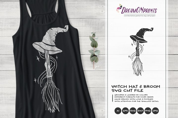 Witch Hat SVG | Witch Broom SVG Cut File | Halloween SVG