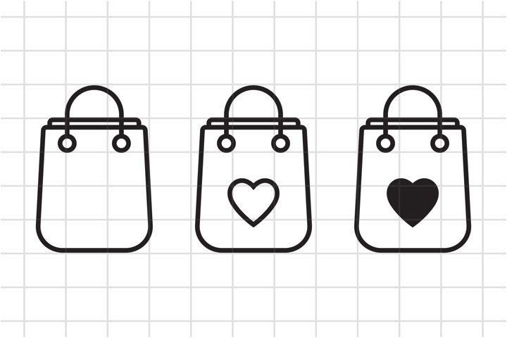 SVG shopping bag with heart cut file