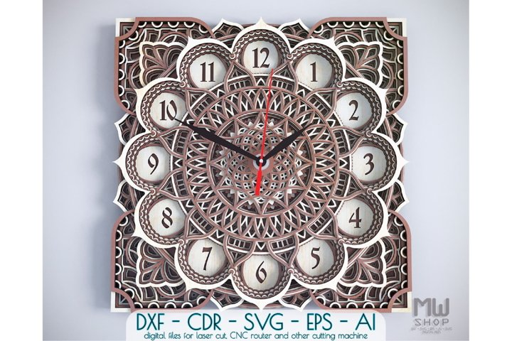 C03 - Wall Clock for Laser cut, Mandala Clock DXF pattern