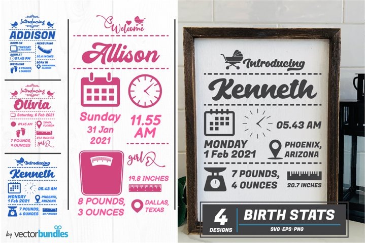 Baby birth stats announcement svg bundle