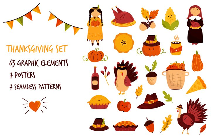 Thanksgiving symbols. Turkeys, Pumpkins, Pies SVG, PNG files