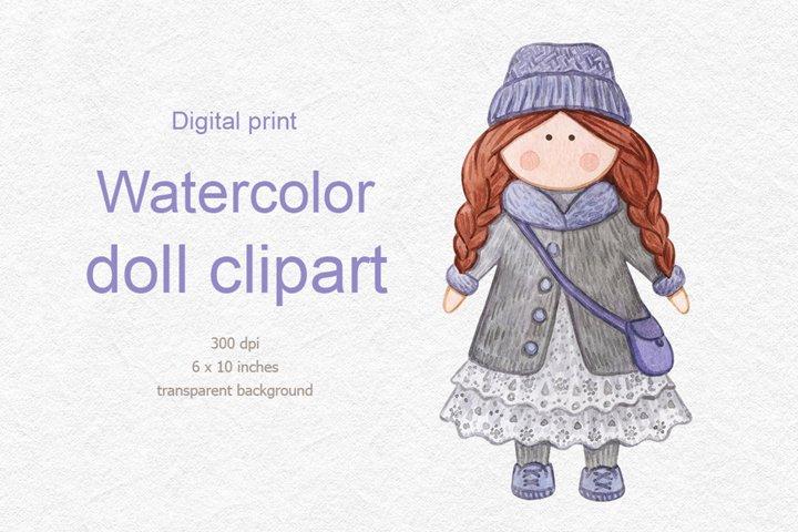Watercolor doll clipart, doll watercolor digital print