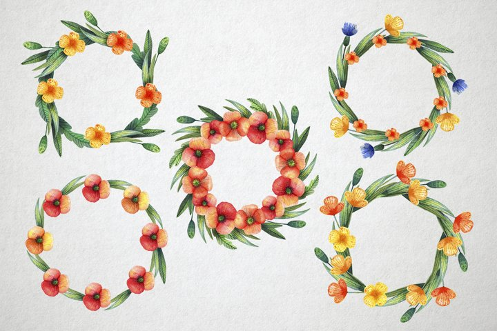 Watercolor wildflowers example 6