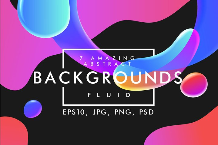 Vector liquid fluid backgrounds set in neon vibrant gradient