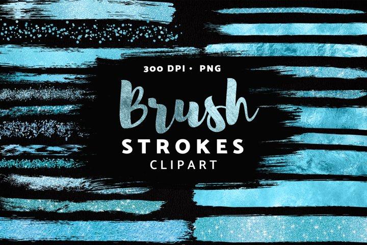 Ice Blue Brush Stroke Clipart, Blue Glitter Confetti Clipart