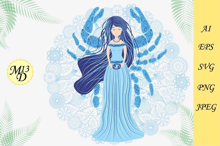 Cancer zodiac sign. Woman in a dress