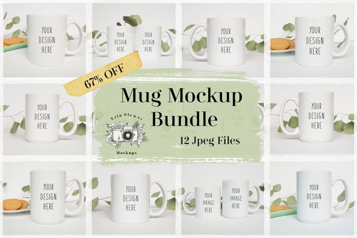 Mug Mockup Bundle| 11oz and 15oz Coffee Mug Mock-up Template