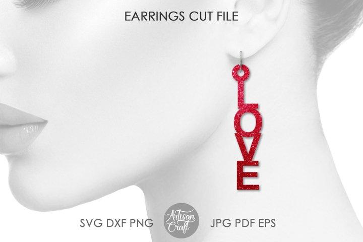 Love Earrings, Laser Cut File