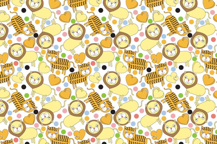 tiger and lion cartoon seamles pattern