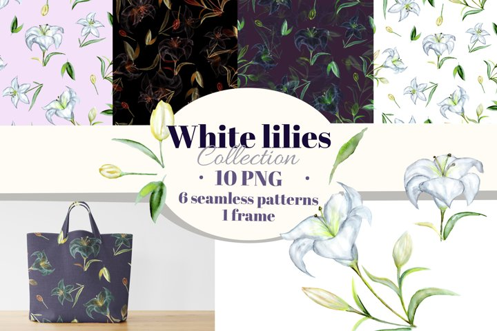 White lilies watercolor clipart, digital paper and frame.