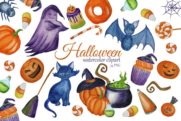 Watercolor Cute Halloween Clipart. Witch clip art example
