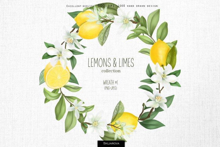 Lemons & limes. Wreath #1.