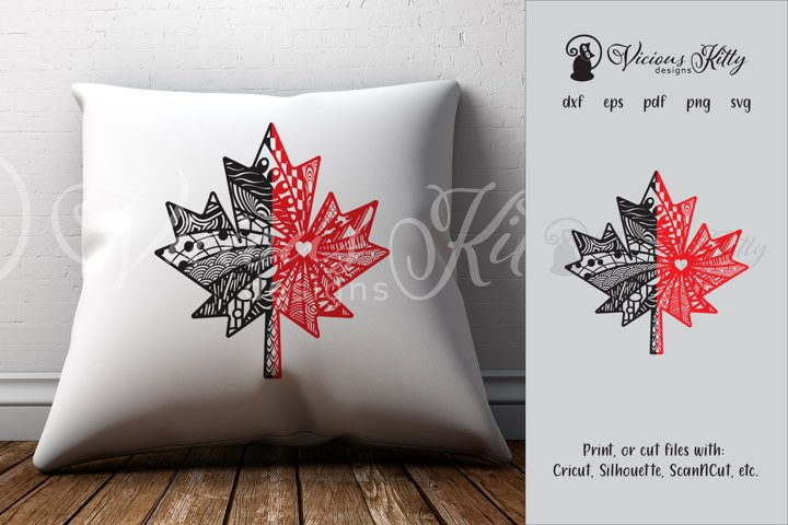 Maple leaf zentangle, Canadian, Canada flag, Canada Day