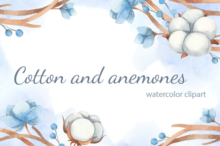 Watercolor Clipart of Cotton and Flowers