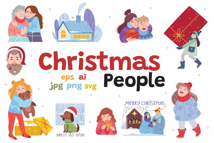 Christmas People Vector Bundle.
