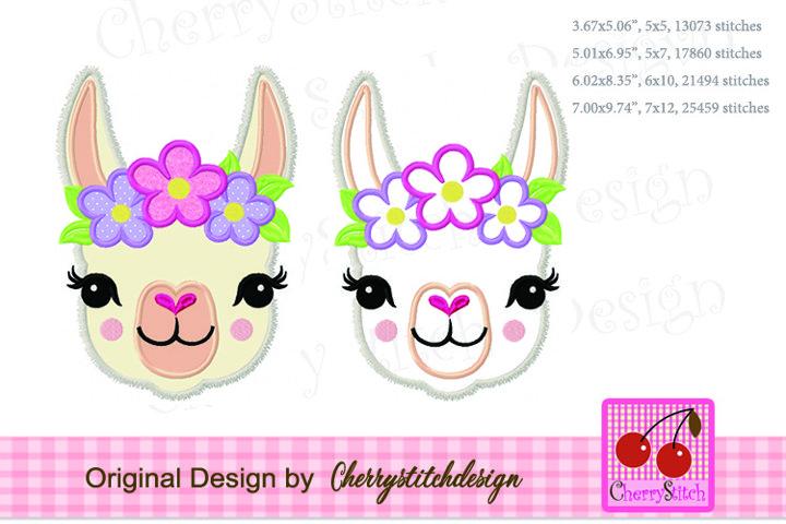 Llama face, flowers llama machine embroidery applique design