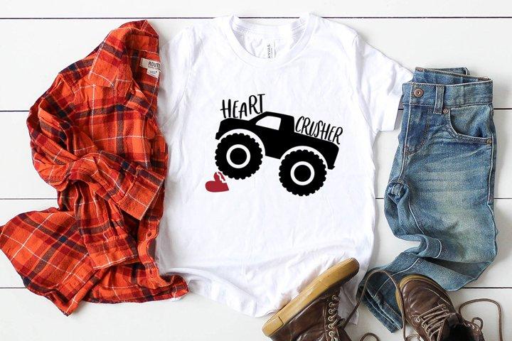 Heart Crusher Svg, Monster Truck Svg, Valentine Cut File