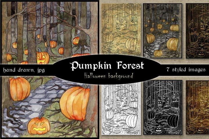 Pumpkin forest. Halloween illustration