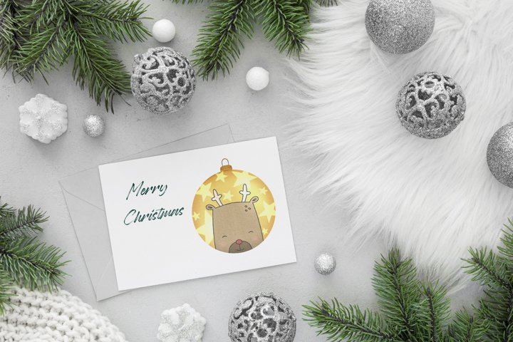 Riendeer Christmas Ball PNG Clipart