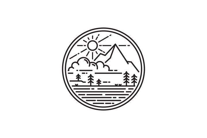 monoline style mountain logo