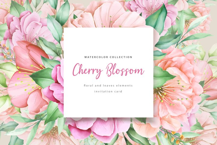 Beautiful cherry blossom elements and invitation card set