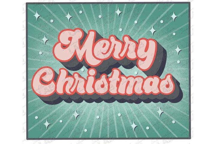 Merry Christmas Retro Vintage Circle Sublimation Design