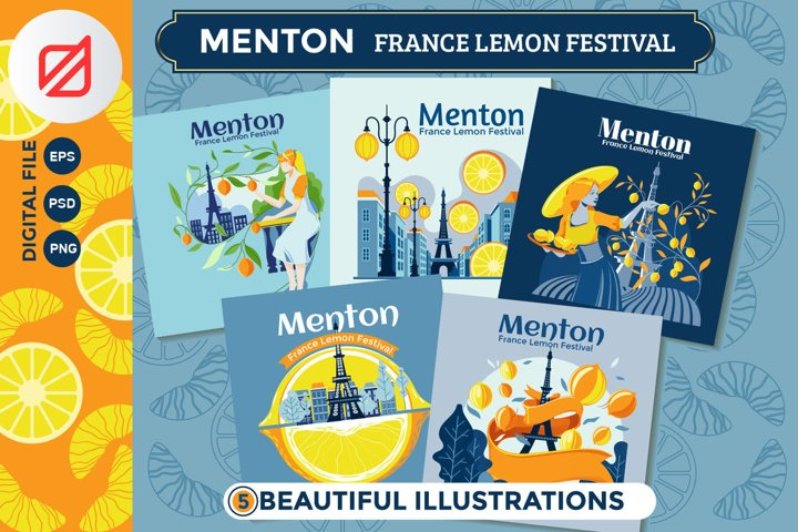 Menton France Lemon Festival Illustration