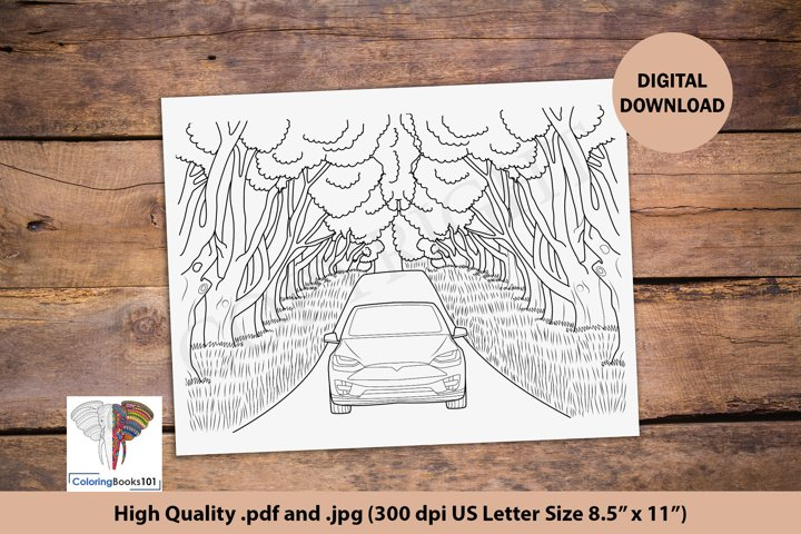 A Car on the Road Coloring Page