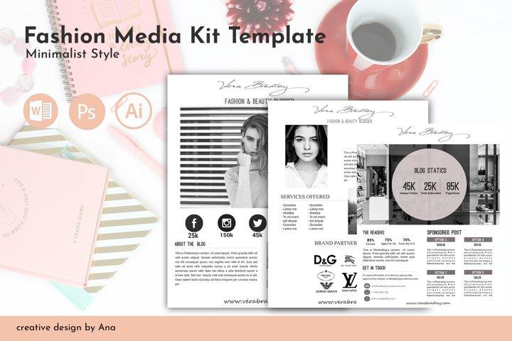 Fashion Media Kit Template 3 Page, Blog Media Press