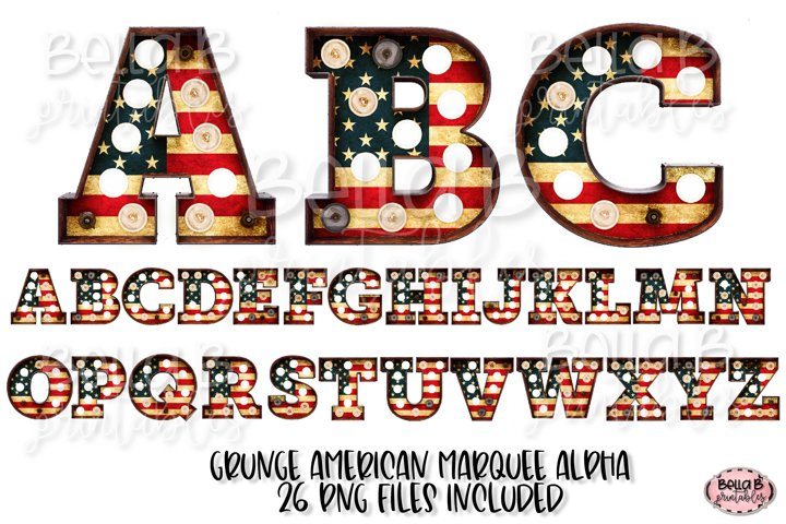 American Flag Marquee Alphabet Letters, Sublimation