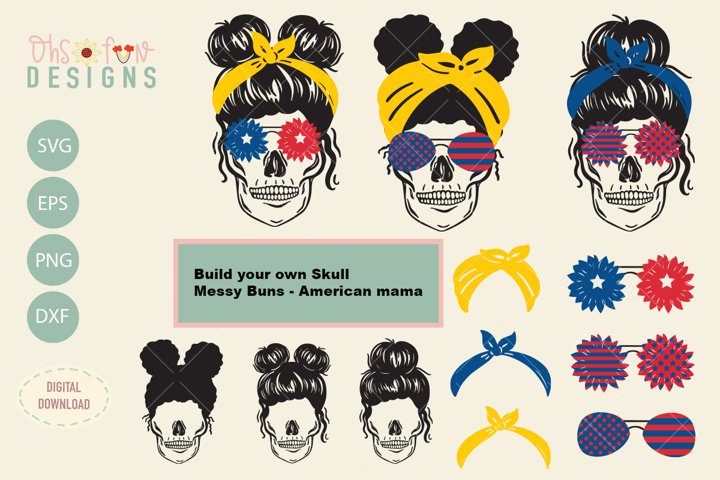 Skull messy buns 4th of July Bundles, SVG, build your own