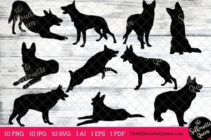 German Shepherd Dog Silhouettes Clipart Clip Art (AI, EPS, SVGs, JPGs, PNGs, PDF) , German Shepherd Vectors - Commercial and Personal Use