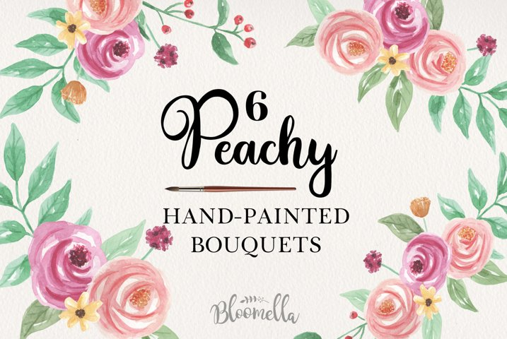 Watercolor 6 Peachy Clipart Bouquets Flowers Pink Peach