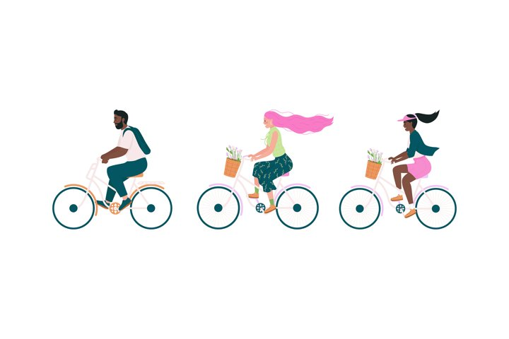 Happy bicyclist flat color vector detailed character set