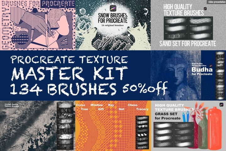 Master KIT Texture Procreate Brushes