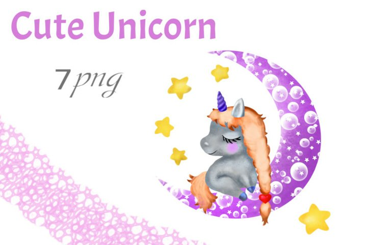 Cute Unicorn on the Moon PNG