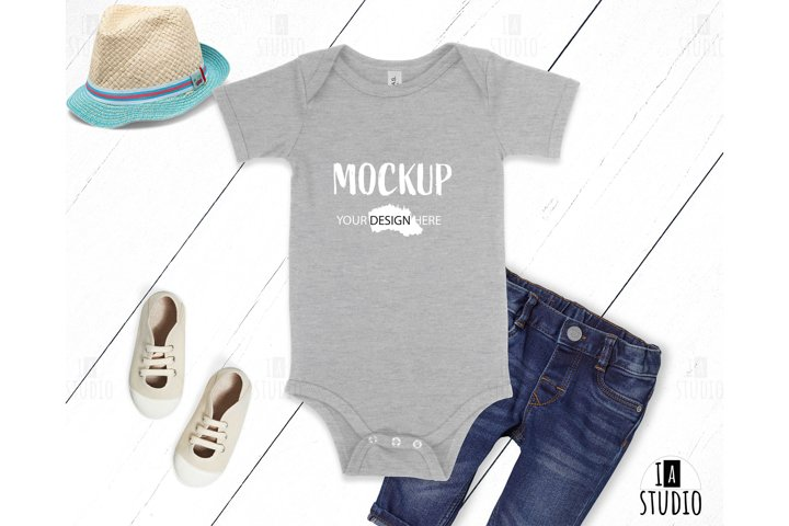 Baby Mockup / Bella Canvas 100B Athletic Grey / Flat Lay