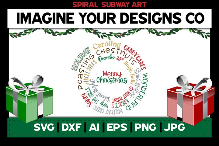 Merry Christmas Spiral Subway Art, SVG Cut File Sublimation