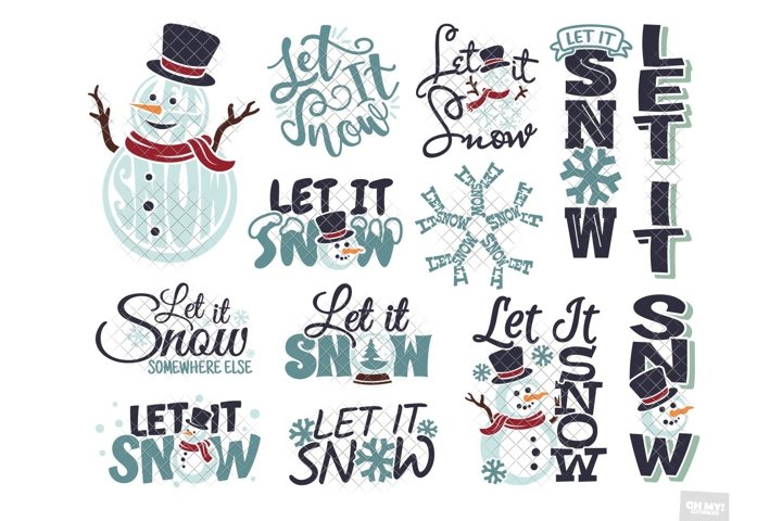 Let It Snow SVG Snowman Christmas Bundle & Sublimation