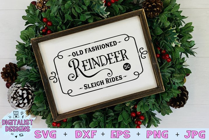 Reindeer Sleigh Rides SVG, Old Fashioned Reindeer SVG