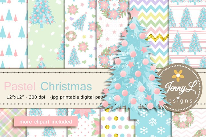Pastel Christmas Digital Papers and Christmas Tree Clipart