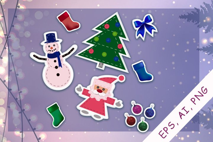 Stickers Bundle EPS, AI, PNG| New Year and Christmas Sticker
