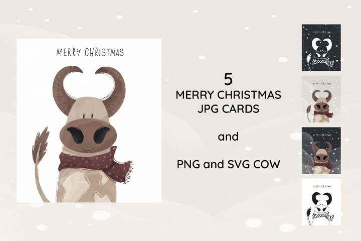 Cute cozy flat bull cow and inscription merry christmas