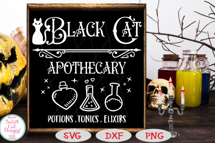 Black Cat Apothecary SVG, Halloween SVG, Sign SVG,Potion SVG