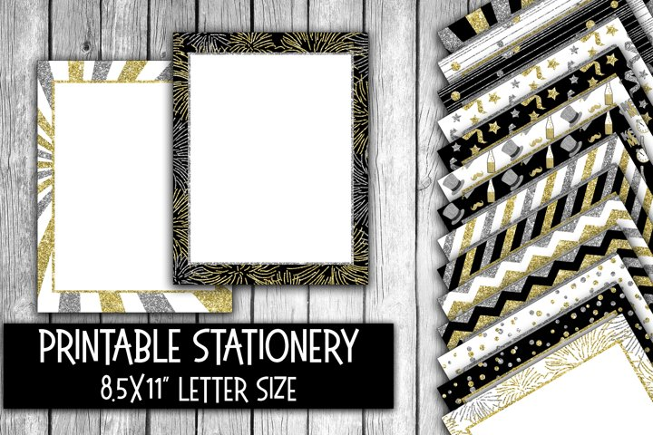 New Year Glitter Digital Paper Letter Size - Stationery