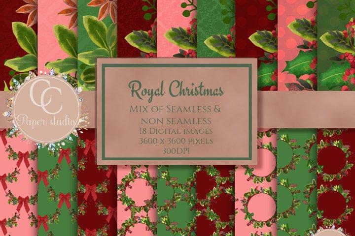 Christmas digital papers - Royal Christmas wreath
