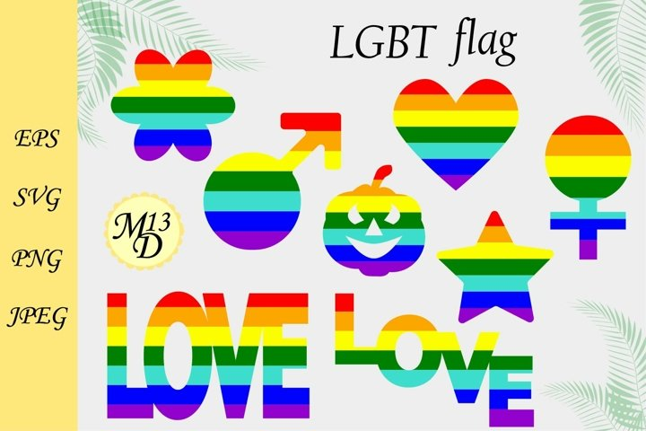 LGBT rainbow flag in 8 variations. LGBT PRIDE