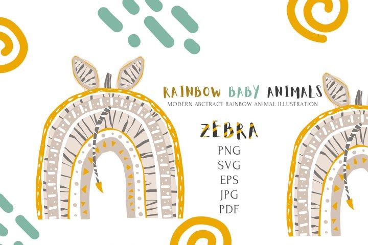 Safari Cute Baby Zebra Rainbow