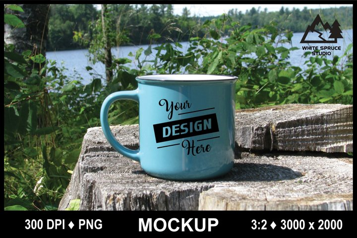 Outdoor Mug Mockup #1 PNG, Scenic Mockup with Mug, Drinkware